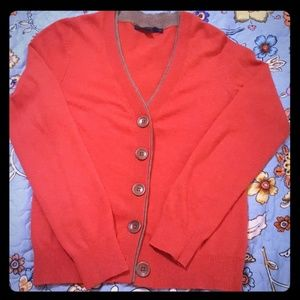 Boden Cashmere Cotton Blend Red/Brown Cardigan 8